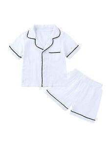 Kids Girls Boys Sleepwear Pajama Cotton Short Sleeve Top Shorts Outfit Nightwear
