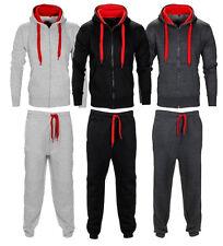 New Mens Tracksuit Set Fleece Hoodie Top Bottoms Jogging Joggers Gym CONTRAST