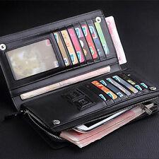 Men's Long Leather Bifold ID Card Holder Clutch Wallet Purse Checkbook Handbag