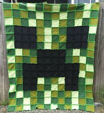 SALE!!! Minecraft Twin Size Creeper Rag Quilt ~ Blanket for boy or girl bed