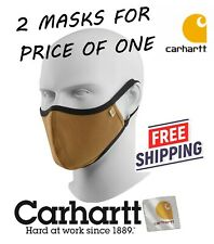 2X CARHARTT Fabric Mens Womens Adults Face Masks BROWN with BLACK AUTHENTIC NWT