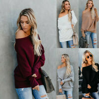 Blouse Women Long Sleeve Baggy Sweater Jumper Knitted Loose One Shoulder Tops