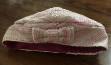 Janie and Jack Baby Girl Pink White Metallic Tweed Beret Hat - Size 6-12 Months