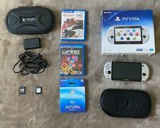 Sony PlayStation Vita Silver w/ 8GB Memory Card, Original Box, Case + Games