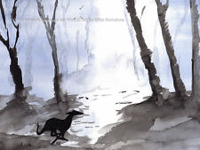 More details for whippet gifts art print painting gift, stocking filler christmas - size options