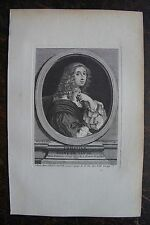 CHRISTINE REINE DE SUEDE . PORTRAIT, GRAVURE ORIGINALE , 1760