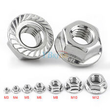 20/100pcs M3-M12 Serrated Hex Flange Nuts Stainless Steel Threaded Nut Durable