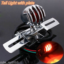 Motorcycle Chrome Grill Brake Stop Rear Tail Plate Light For Harley Chopper BWM
