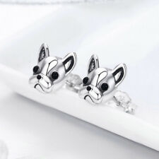 2018 Authentic Silver Loyal French Bulldog Dog Animal Small Stud Earrings A Pair