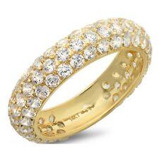 2.5ct Round Cut Eternity Bridal Wedding Anniversary Band Solid 14k Yellow Gold