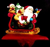 CHRISTMAS STOCKING HANGER SANTA CLAUS IN A SLEIGH WITH OWL SQUIRREL AND BIRD