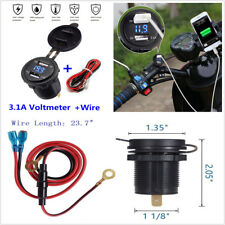 Car Motorcycle 12V 3.1A Dual USB Charger Socket Blue LED Light Voltage Voltmeter