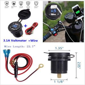 Car Motorcycle 12V 3.1A Dual USB Charger Socket Blue LED Light Voltage Voltmeter
