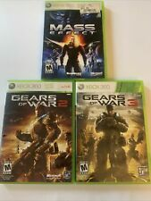 Gears of War 2, 3 Xbox 360 - Mass Effect  Lot Of 3 Bundle With Manuals + Inserts