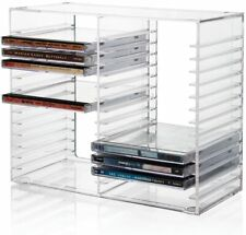 CD Holder Clear Plastic Storage Rack Stacking Tray DVD Disk Case Space Organizer