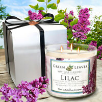 Handmade Soy Candles that smell AMAZING 17oz Jars, Highly Scented Lilac 3 Wick