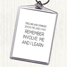 White Black I Learn Quote Bag Tag Keychain Keyring