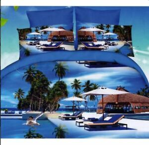 3D Modern Blue Lagoon Beach Resort King Bedsheet Cover with Pillowcase