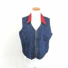 Vintage 90's ROCKIES Fitted Denim Vest Zip Front Red Collar Women's Size XL