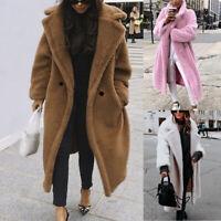 Women Winter Teddy Bear Faux Fur Overcoat Plush Long Jacket Trench Coat Cardigan