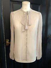 Whistle Silk Chiffon Shirt Top Blouse Pale Grey UK 10 Pussy Bow Tie Net A Porter