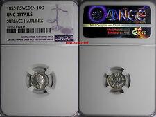 Sweden Oscar I (1844-1859) Silver 1855 - T 10 Ore Ngc Unc Details Km# 683