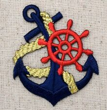 Iron On Applique Embroidered Patch Blue Anchor with Gold Rope Red Ships Wheel