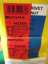 Steel Nutserts M8x11x18.5 Rivnut Rivet nuts CSK Head Open End X 10