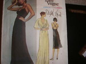 "Vogue American Designer Pattern 70s Edith Head 1560 Dress & Cover Up Sz10 B32.5"""