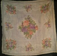 Large Vintage 1980's Wool Liz Claiborne Scarf w/ Victorian Floral Pattern (34 x