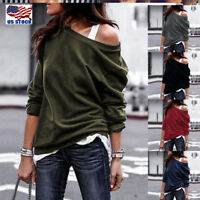 Women Ladies Off Shoulder T-Shirt Tops Sweatshirt Jumper Sweater Pullover Blouse
