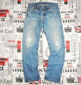 "mens 31""W 32""L Levi's 501 JEANS Well worn Lots of repair work Red Tab Blue Denim"