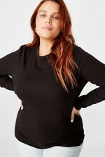 Cotton On Womens Curve The Turn Back Long Sleeve Top Curve  In  Black