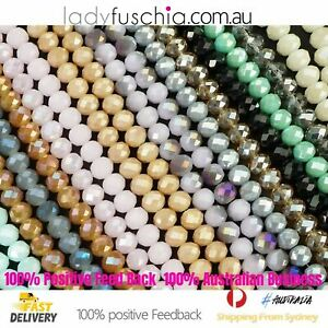 1 Strand 10mm Rondelle Faceted Glass Crystal Beads Multiple Colour 70 PCs