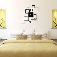 Horloge murale 3D DIY Accueil Moderne Décoration Cristal Sticker Miroir Living
