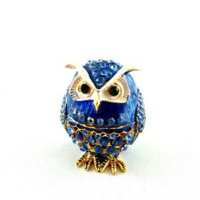 Hand-crafted Metal Jewellery Trinket Box - Blue Owl