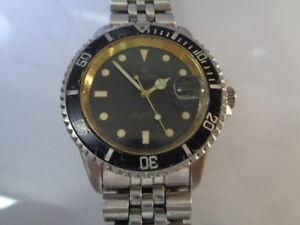 Bulova Diver Mens Watch Date Black Dial Automatic 2824-2 25jewels Sub Mariner