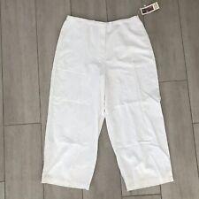Marsh Landing Sz L Linen Amanda Smith Womens Pants White Capri Casual New  53478