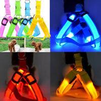 Pet Dog Harness Cat Safety LED Flashing Light Leash Nylon Rope Belt Collar Vest