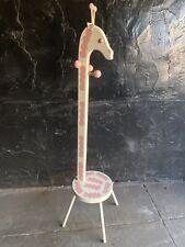 Vintage Pink Giraffe Bench Stool Girls Coat Close Rack Hanger