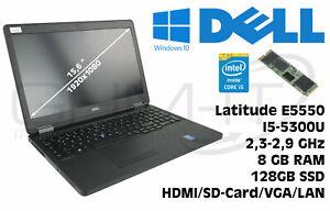Dell Latitude E5550 Intel i5-5300U 2,3GHz 8GB RAM 128GB M2 SSD Win10 B-Ware