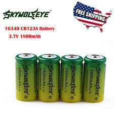 4Pcs CR123A 16340 3.6V 3.7V 1800mAh Rechargeable Battery Power For Flashlight