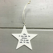 East of India Porcelain Hanging Star Decoration When It Rains LOOK for Rainbows