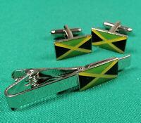 JAMAICA FLAG CUFFLINKS & TIE-PIN GIFT SET BRAND NEW 20MM MENS