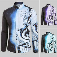 Men Casual Musical Note Pattern Long Sleeves Printed Shirt Top Blouse New