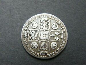 1741 George II 2nd Silver Shilling Coin Roses