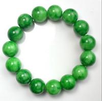 Natural 12mm Green Jade Stone Ruond Beads Elastic Bangle Bracelet 7.5''