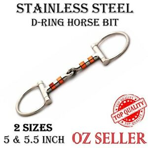 D-RING HORSE BITS STAINLESS STEEL WITH COPPER ROLLERS SNAFFLE MOUTH 5 & 5.5, NEW