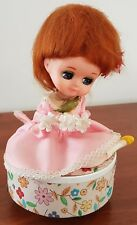Vintage Kitsch 60s WORKING MUSICAL Plastic Doll SEWING CADDY with Contents