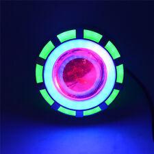 Green&Blue LED Projector Headlight Halo White Angel Devil Eye Cruiser Motor Bike